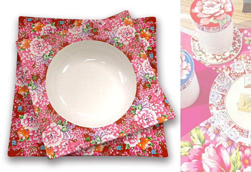 台灣花布方盤 Taiwan soft breeze Multicolor cloth Square plate